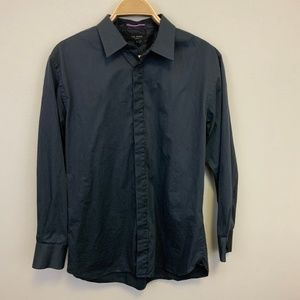Ted Baker Gray Navy Vertical Striped Button Down